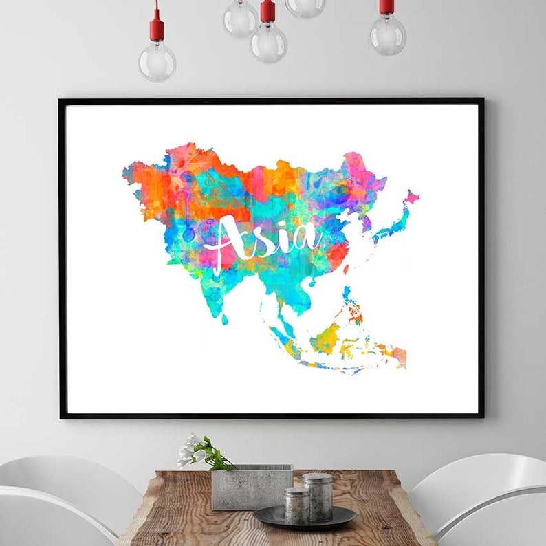 picture about Printable Map of Asia identified as Asia Map Print, Asia Printable Map, Continent Map Reward, Asian Wall Artwork Decor, Watercolor Map Print, Asia Quick Down load Map