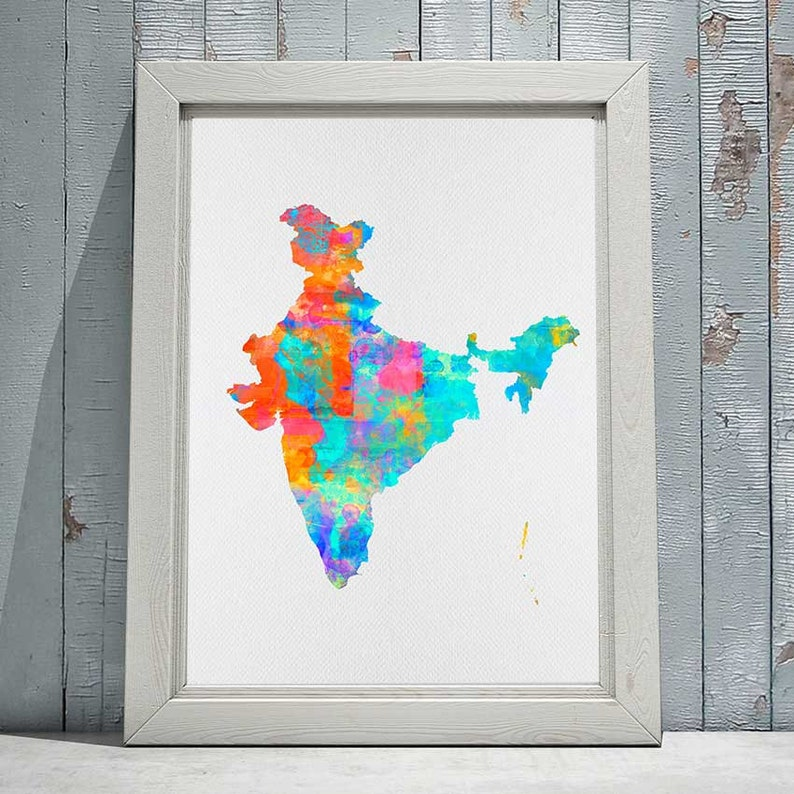 Carte De Linde A Imprimer.Impression De Carte De L Inde Carte Imprimable De L Inde Murale Art Deco Aquarelle Carte Cadeau Imprime Indien Telechargement Immediat