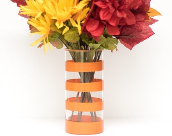 Burnt Orange Thick Striped Vase