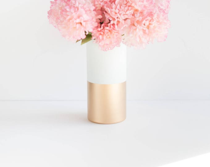 Gold and White Color Block Vase