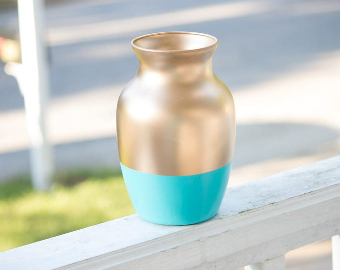 Teal and Gold Vase, Color Block