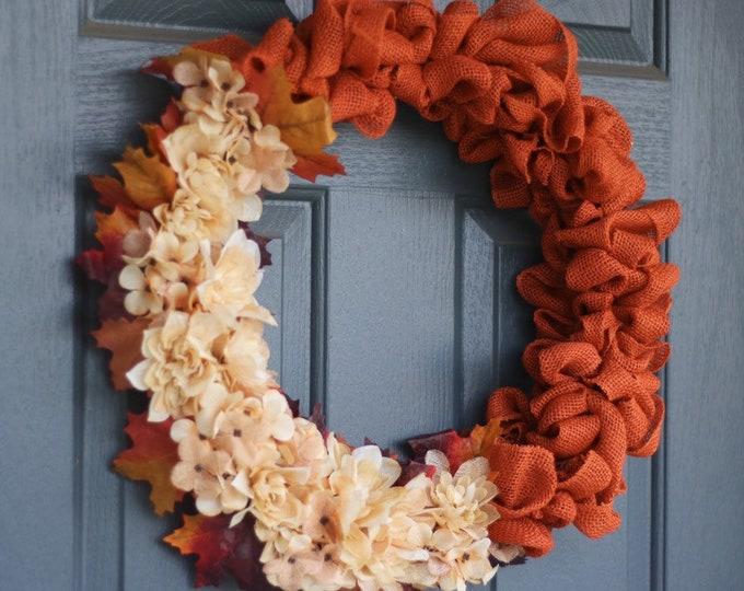 Orange Burlap Fall Wreath