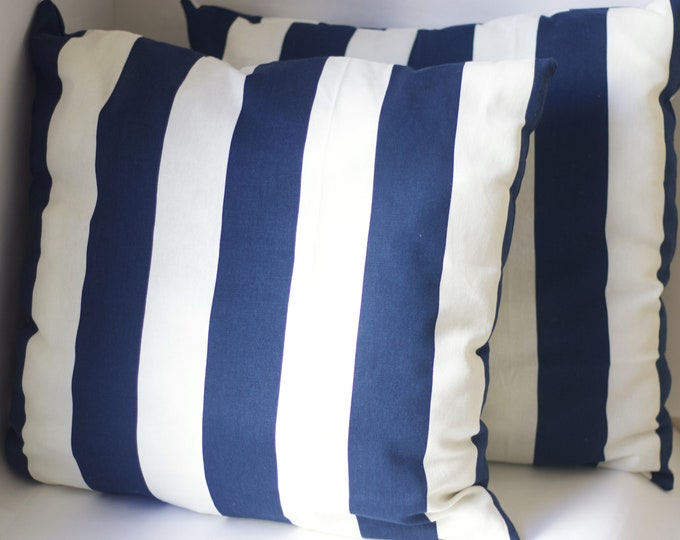 Throw Pillow | Navy Throw Pillow | Striped Throw Pillow | Cotton Throw Pillow | Throw Pillow Set | Set of 3 | Housewarming Gift