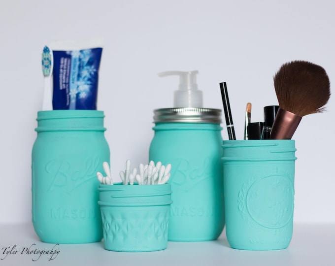 Blue Mason Jar Bathroom Set - Set of 4 Turquoise Bathroom Set