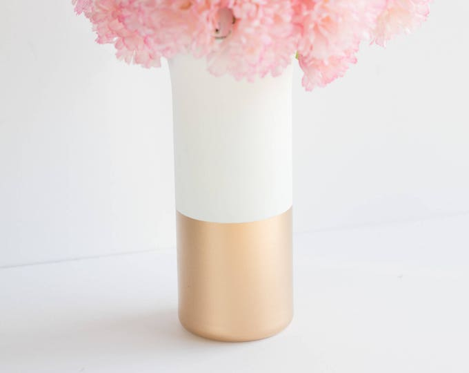 Gold and White Flute Vase