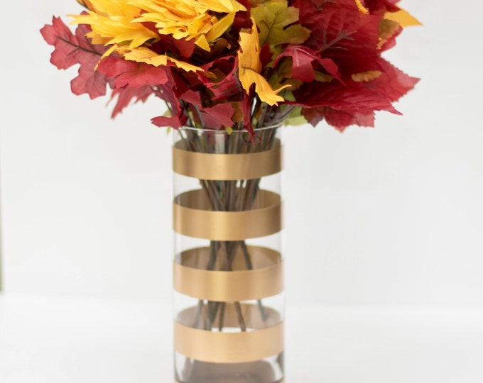 Gold Thick Striped Vase
