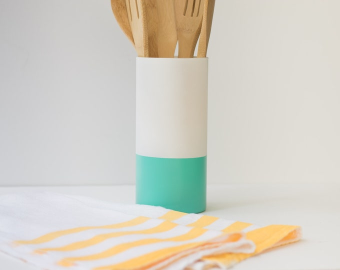 Teal and White Vase