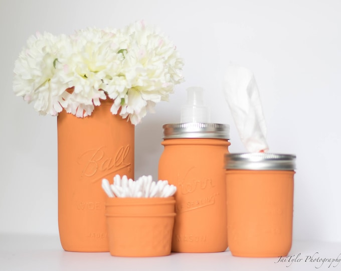 Burnt Orange Mason Jar Set of 4