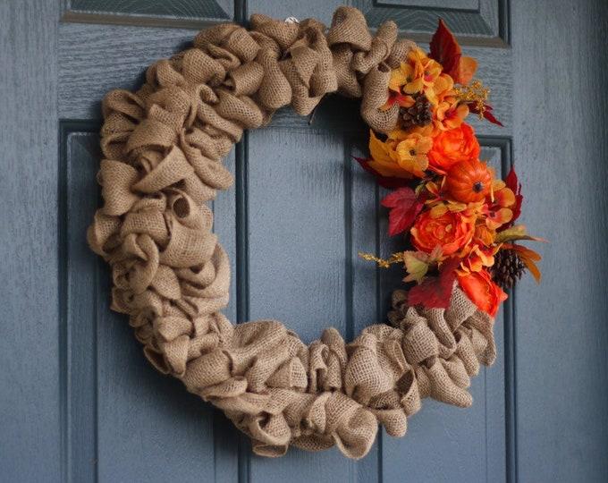 Bold Fall Burlap Wreath