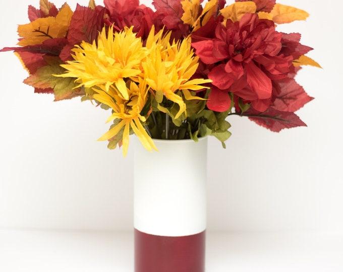 Burgundy and White Vase