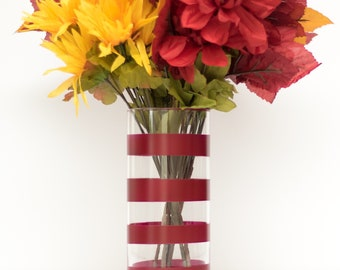 Burgundy Thick Striped Vase