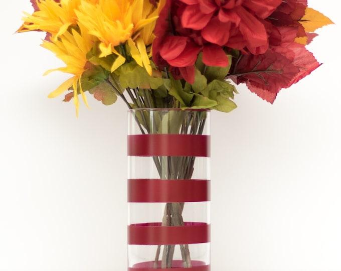 Burgundy Thick Striped Vase