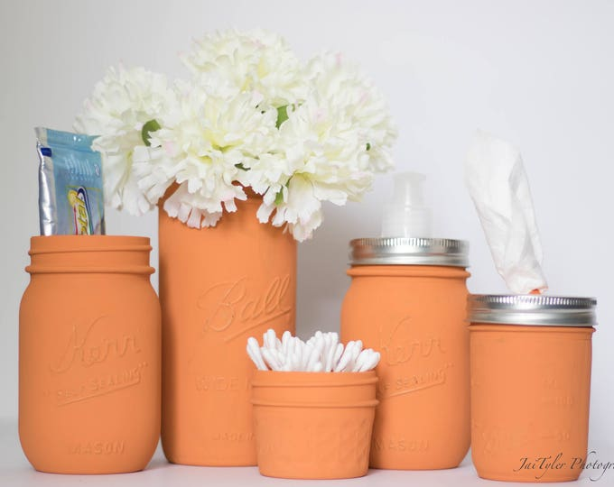 Burnt Orange Mason Jar Set of 5