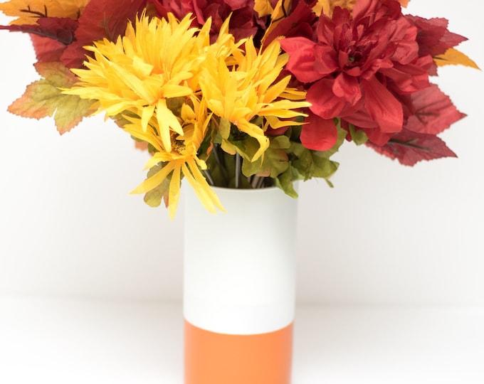 Burnt Orange and White Vase