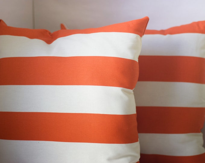Orange Striped Throw Pillow
