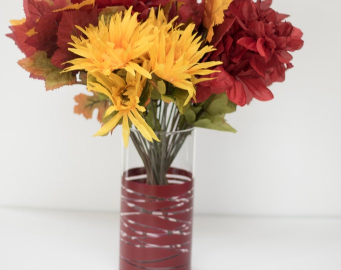 Burgundy Striped Vase