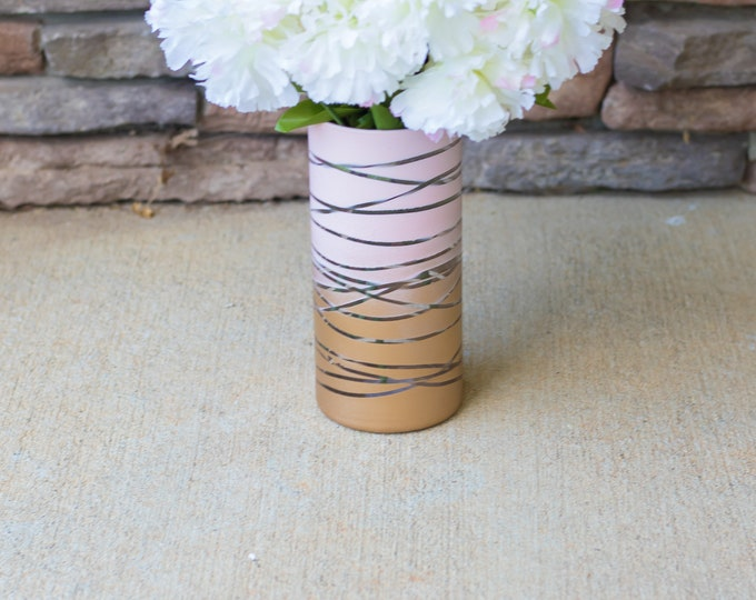 Pink and Gold Ombre Vase