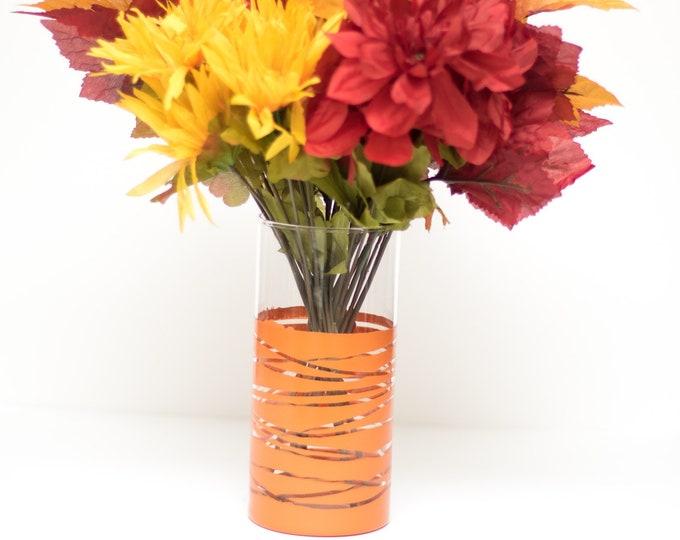 Burnt Orange Striped Vase