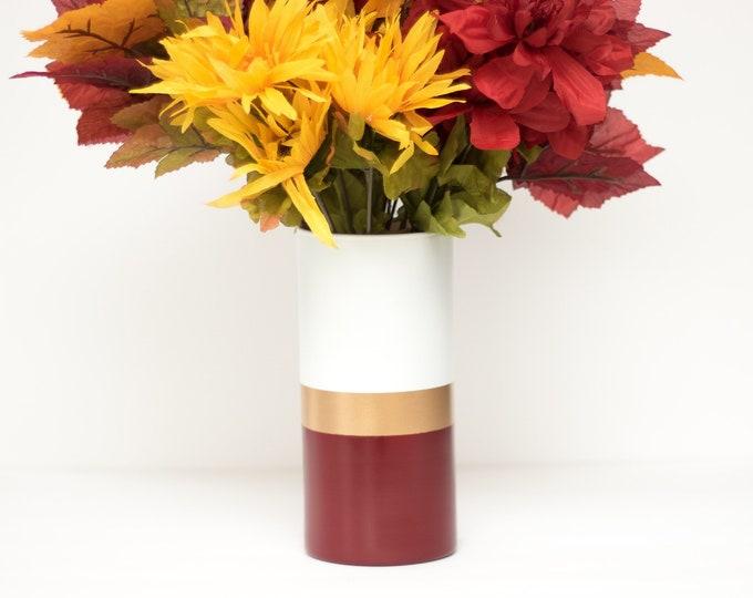 Burgundy Gold Stripe Vase