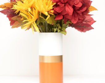 Burnt Orange Gold Stripe Vase