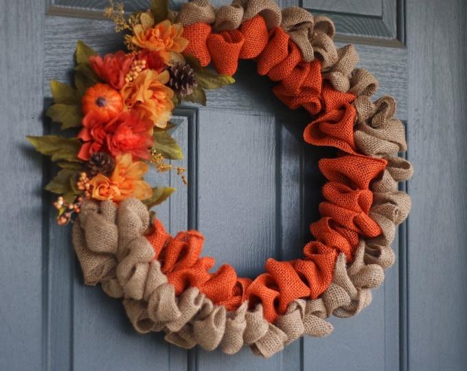 Orange and Natural Burlap Wreath