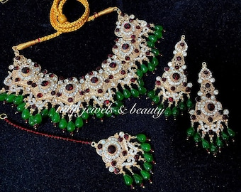 Gulluband Earrings,tikka /& Jhummar Wedding  jewelry IndianPakistani Rani haar
