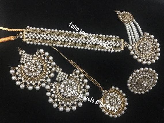 Plaqué or Femmes Inde Fashion Jewelry Kundan Polki Collier Set Boucles d/'oreilles tikka