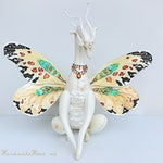 MAKE TO ORDER. Flower Butterfly Dragon. Art Collectible Toy, Magic Dragon, Butterfly Wings Dragon, Butterfly Wings