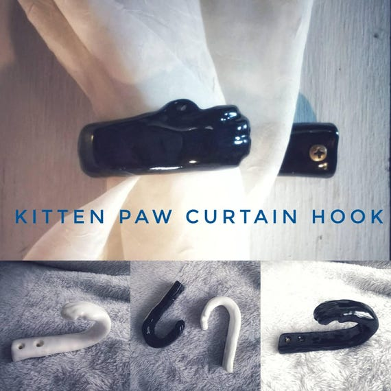Kitten Paw Curtain Hook; Ceramic Handmade Window Treatment; Wall Decor; Cat Lover's Hook; Black or White; Curtain Pull; Leash Holder