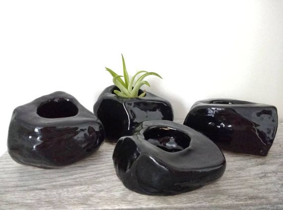 Jet Black Ceramic Rock Planter; Handmade; Rock-like; Home Decor; Scandinavian, Glossy Black; Air Plant Holder