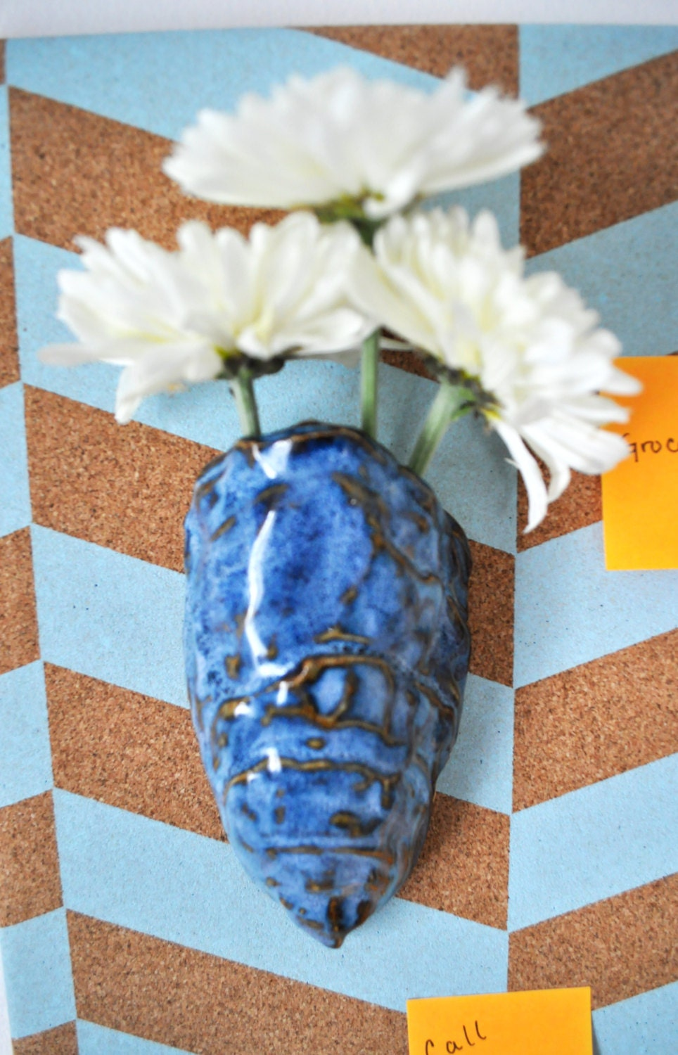 Ceramic Oyster Shell Vase Handmade With Licorice And Blue Glaze