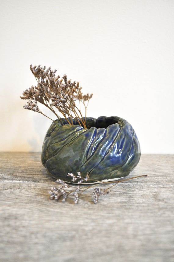 Blue Green Ceramic Bowl; Twisting Cloth Pot; Hand-carved Cloth-like Planter; Centerpiece Pottery; Blue Green Vase