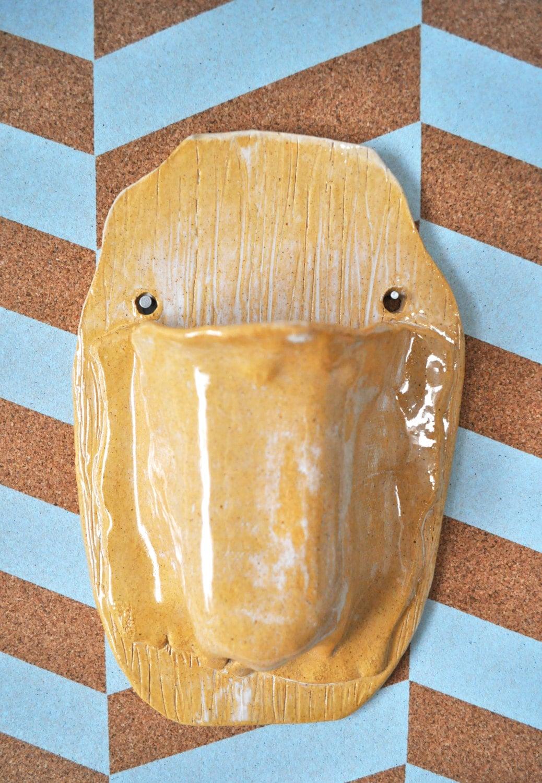 Ceramic Wall Pocket Golden Yellow and Cream Handmade Vase; Pencil ...