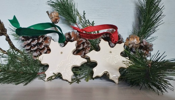 Lace-Pressed Ceramic Snowflake Ornament; Handmade Christmas Decoration; White Pottery with Crystal Bead, Sparkle Red or Emerald Green Ribbon