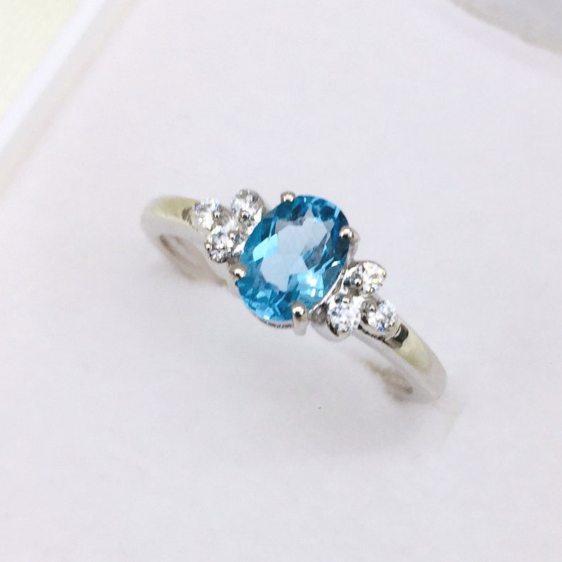 Gift November Ring Proposal Ring Engagement Ring Tiny Topaz Oval Ring 925 Silver Ring Natural Blue Topaz Ring Cubic Zircon Ring