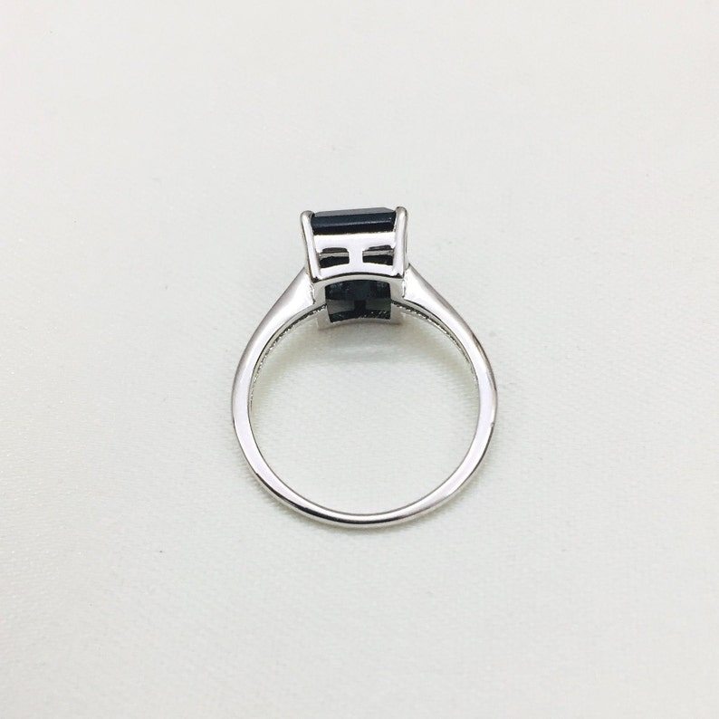 Natural Black Spinel Ring Handmade Ring Stacking Ring Octagon Gemstone Ring 925 Silver Ring August Birthstone Gift Solid Silver Ring