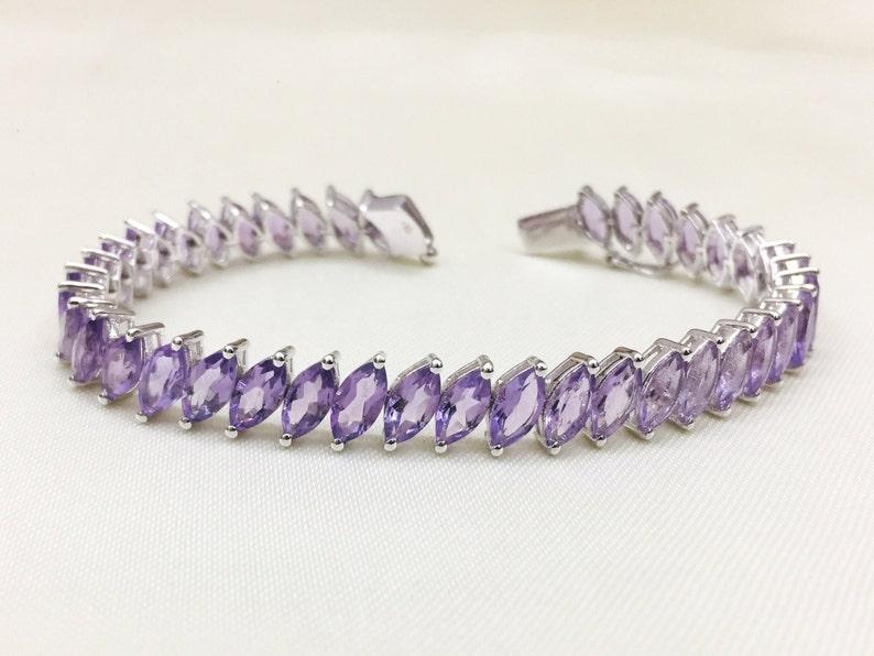 Natural Amethyst Bracelet Solid Silver Amethyst Bracelet Wedding Jewelry February Jewelry 925 Sterling Silver Bracelet Christmas Gift