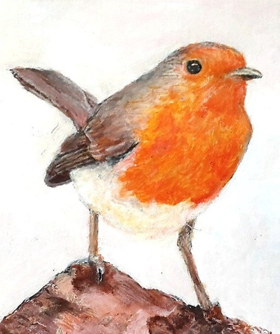 Home Interiors Ink and Water colour Robin Robin winter robin Mixed Media Robin Robin Giclee Print Water colour Robin British birds