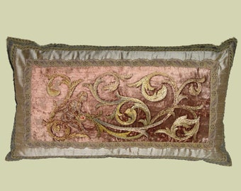 Silk Embroidery on Silk Velvet Textile Pillow