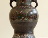 Antique Japanese Champleve Bronze Enamel Cloisonne Vase Urn Early 20th Century Meiji Period