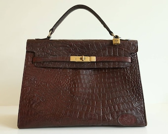 5cea5d91169 Vintage Mulberry Kelly Model Bag in Brown Congo Leather ca 1996