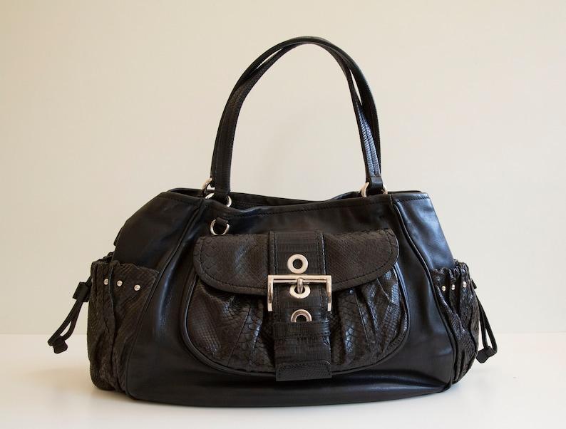 Prada Handbag in Black Snake Skin and Leather