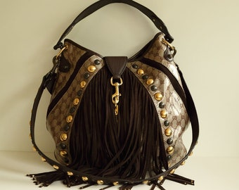 Vintage Gucci Crystal Babouska Large Hobo Bag Shooulder Cross Body Bag