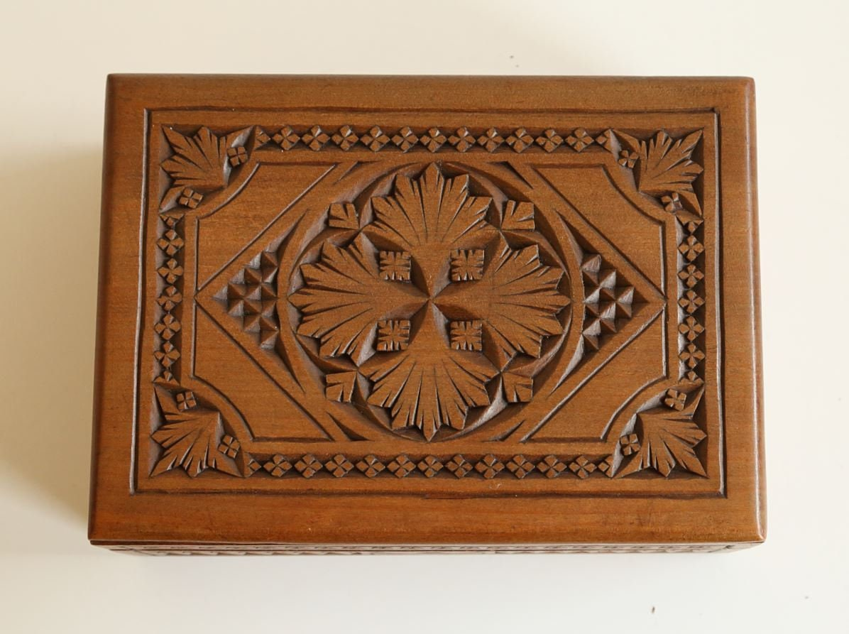Antique hand carved chip carving technique wood square box etsy