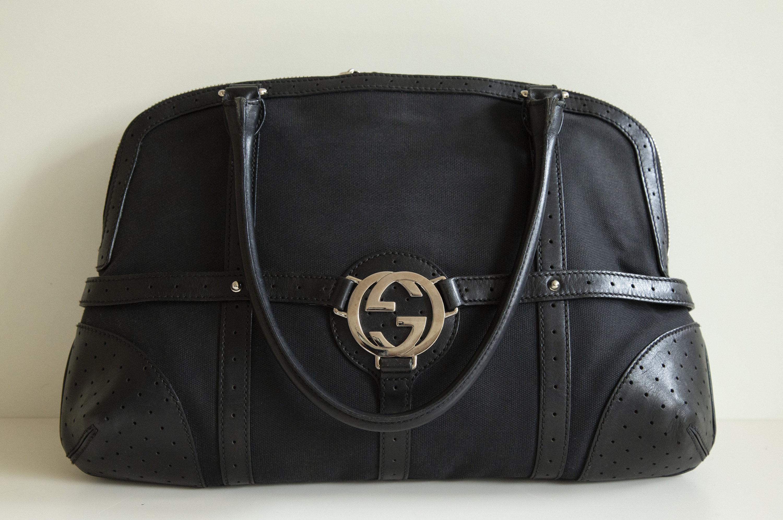 e114ef004 Gucci Handbag Shoulder Bag in Black Canvas and Leather | Etsy