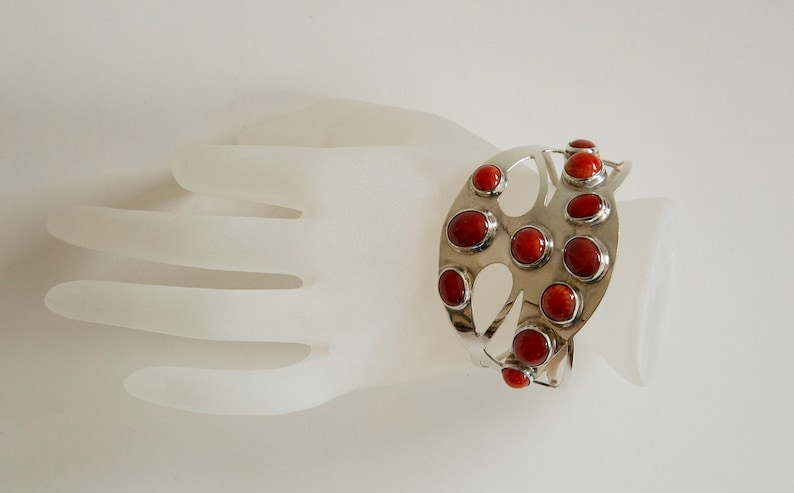 Wide Ajour Cuff Silver Sterling Bracelet With Oval and Round  Bamboo Coral Cabochons
