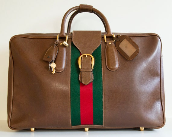 Gucci Leather Travel Bag Suitcase 1970s