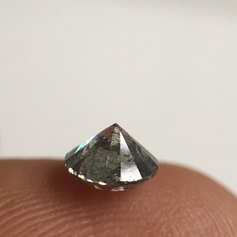 5.45 MM x 3.34 MM Round Shape Natural Loose Diamond SJ34114 0.67 Ct Natural Diamond Round Brilliant Cut Black Gray Salt and Pepper