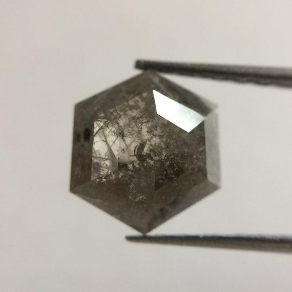 1.11 ct naturel hexagone forme 8,35 X 6,90 mm naturel ct vrac diamant fantaisie Dark Grey couleur hexagone lâche diamond Cut utilisation pour la fabrication de bijoux 51102b