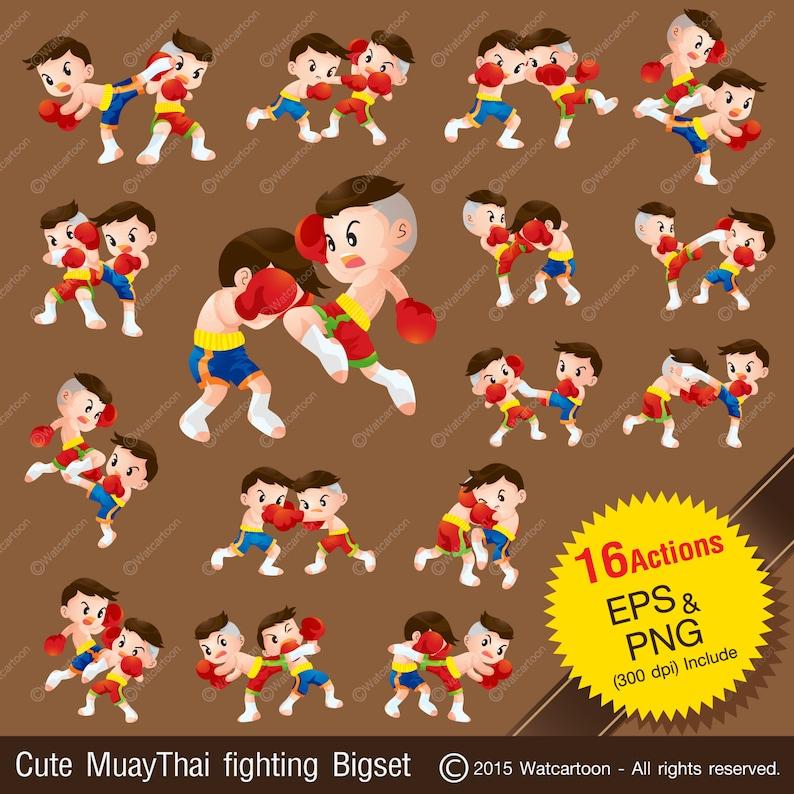 2fbbe3ff2 Lindo Muay Thai boxeo tailandés vector de dibujos animados